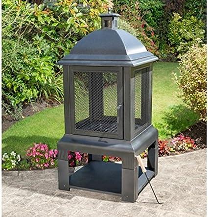 New Stylish Firepit Chiminea Large Aspen Wood Burner Box Summer Bbq Party Amazon De Garten
