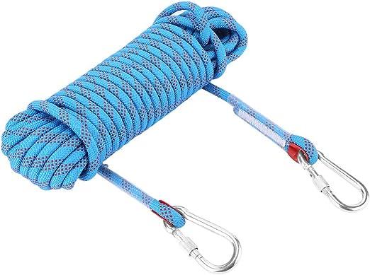 VGEBY1 Cable de Escalada, Cuerda de Seguridad para Acampar de Paracord, Cuerda de Seguridad, Rappel con mosquetones para Acampar, espeleología, ...