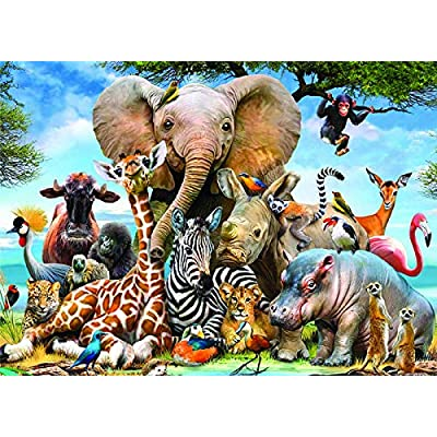Puzzle 1000 Pieces for Adult, Funny Landscape Building Pattern Puzzle for Adult Children Jigsaw Puzzle Intellective Educational Toy (Elephant): Toys & Games