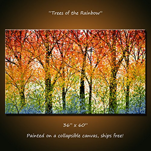 Original Extra Large Wall Art Rainbow Decor Landscape Tree