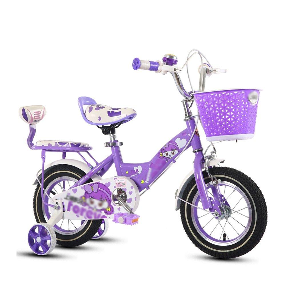 子供の自転車2歳から10歳の女の子ベビーカーベビーペダル自転車キッズピンクバイク B07DTXSN15 14 inch|パープル ぱ゜ぷる パープル ぱ゜ぷる 14 inch