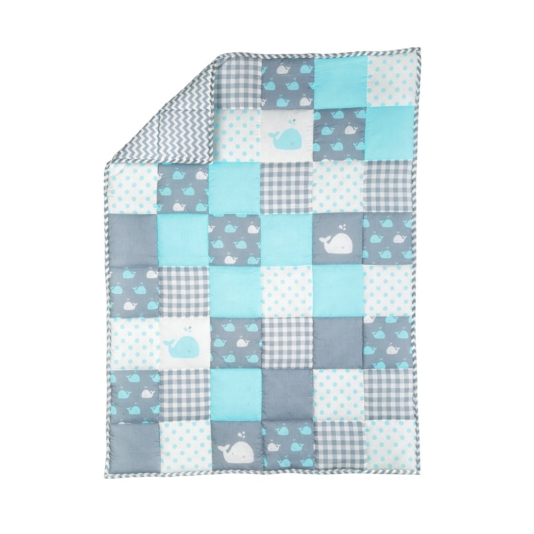 Plush Blue Toddler Blanket - Soft Cot Comforter for Boys and Girls Pure Cotton Baby Cradle Quilt