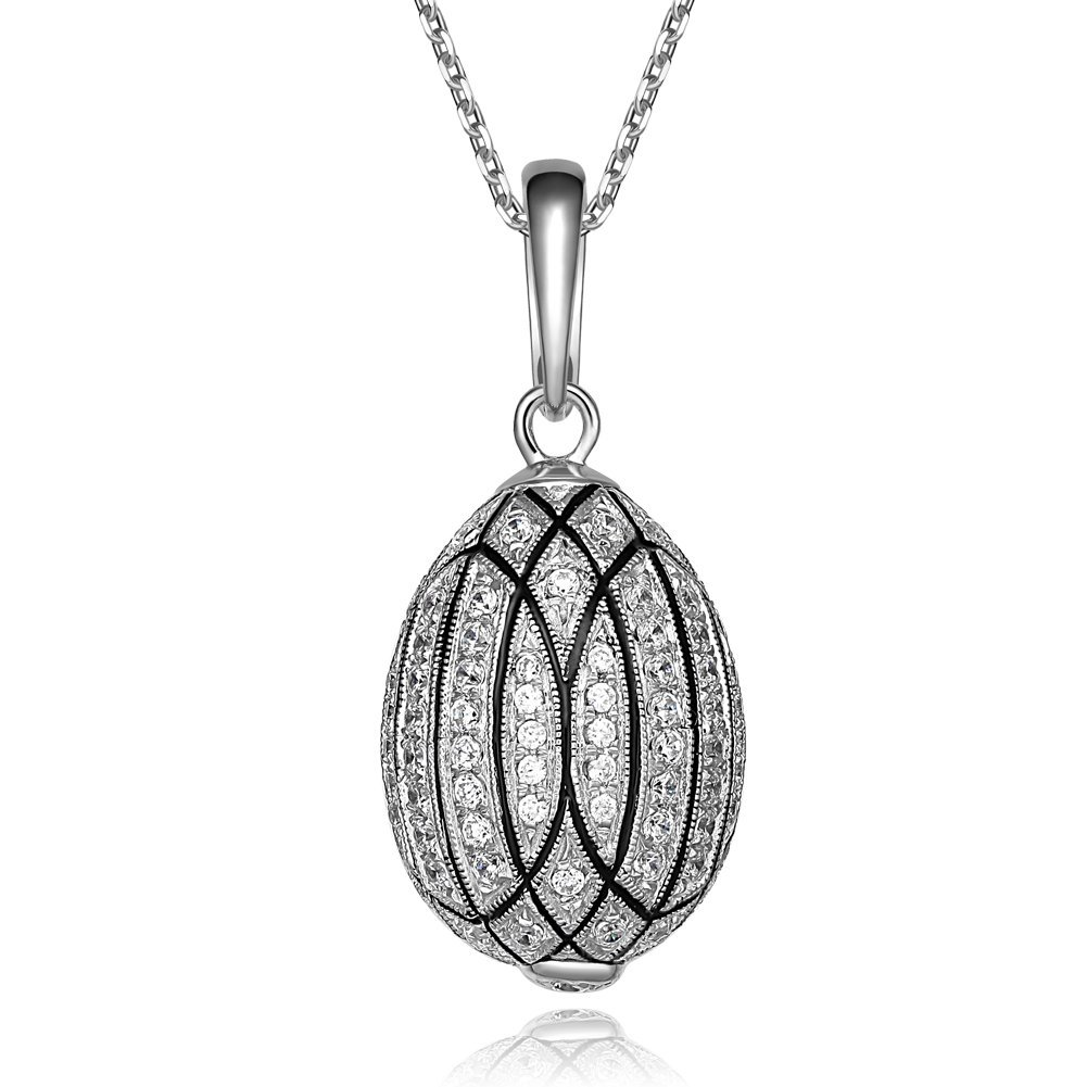 Tf Charms Tf Charms Fully Zircons Russian Royal Faberge Egg Pendant Silver Necklace 18 Inches(Silver)