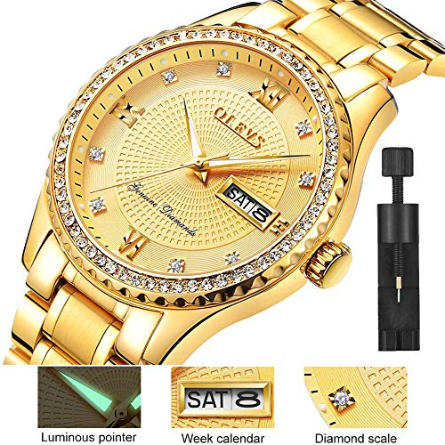 Watches for Men Gold Stainless Steel Band Gold Diamond face Gold with Day Date Luminous Wrist Watch & Gift - Mens Watches Used
