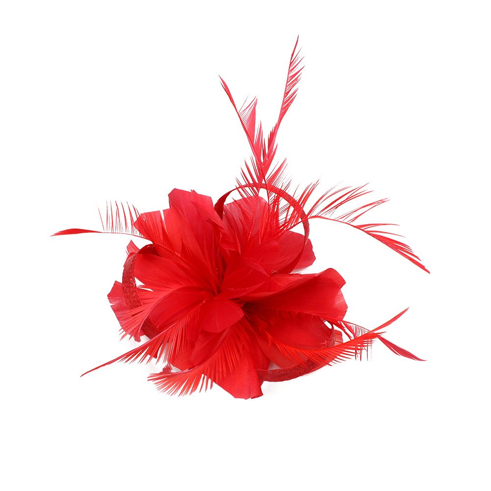 SZTARA Fashion Flax Hair Clip Feather Barrette Hairpin Party Girls Women Fascinator Headband Cocktail Hat