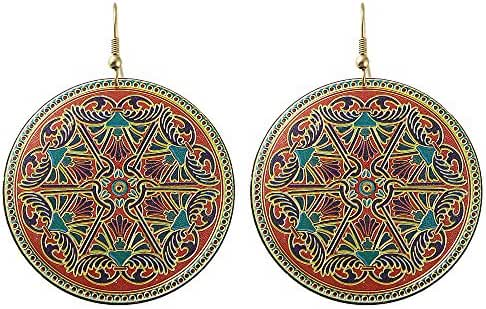 Feelontop® Bohemian Ethnic Style Flower Printed Large Round Hoop Earrings with Jewelry Pouch