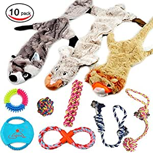 Lobeve Dog Toys Gift Set,Variety No Stuffing SqueakyPlush Dog Toy and Cotton RopePuppy Toys Bundle for Medium to Small Doggie