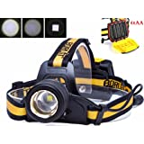 Boruit B18 LED Headlamp Zoomable Waterproof Head Torch Light Latest Version XM-L2 Yellow