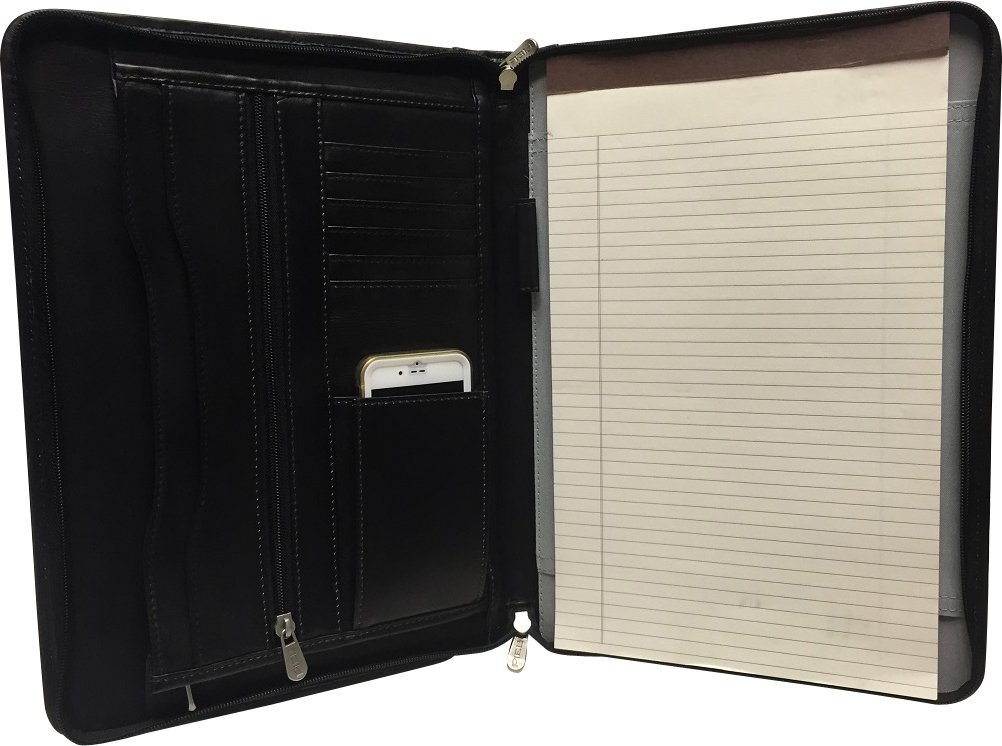 "Zippered Leather Legal size Portfolio includes 8.5"" x 13.5' Legal Size Writing Pad- Black"