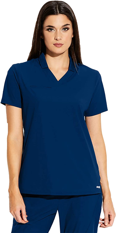 Grey's Anatomy Edge Lyra Top for Women – Wrinkle Recovery Medical Scrub Top