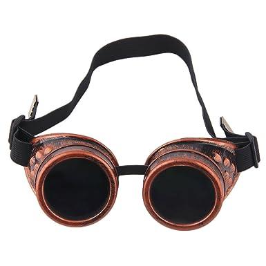 Klassische Steampunk Sonnenbrille Vintage Große Runde Gothic Nette Winddicht Pilot Sonnenbrille,Kupfer