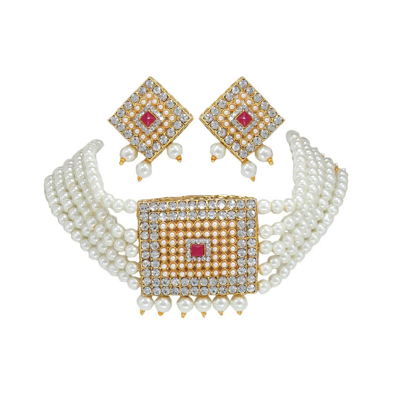 fa94b1ef86f24 Padmawati Traditional Modern Style Square Pattern Pearl Choker Necklace  Earring Jewelry Set for Women & Girls