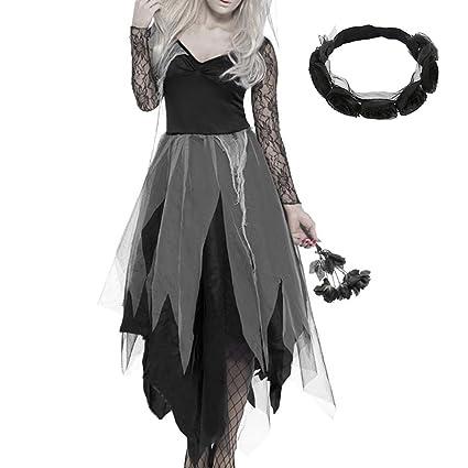 New_Soul - Disfraz de Halloween para Mujer, diseño de Novia con Encaje y Diadema,