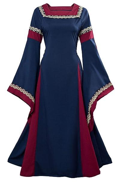 tianxin Vestido de Traje Medieval Vestido renacentista para Mujer Vestido Largo de Noche de Estilo Victoriano gotico con Manga Larga de Llamarada
