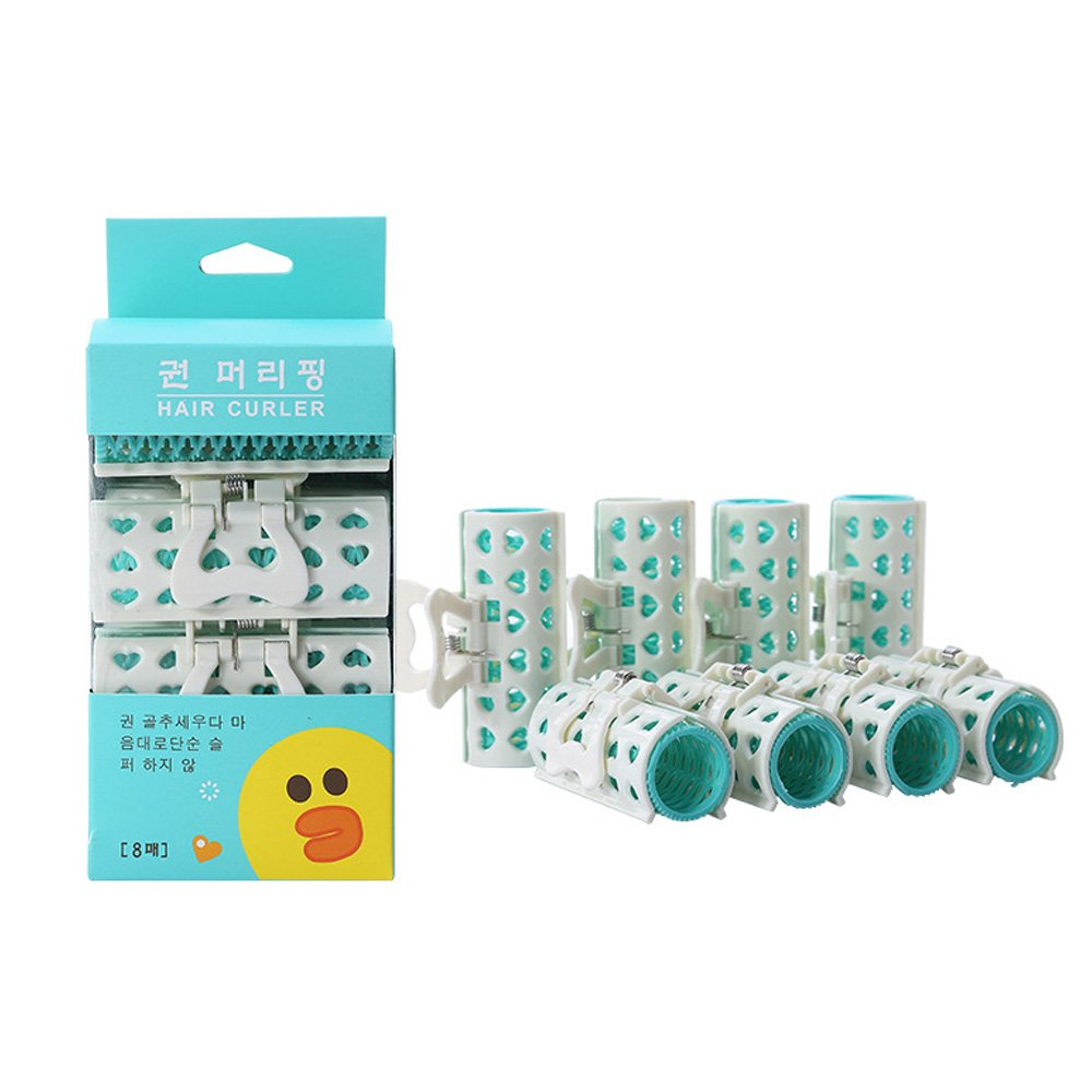 TS Holding Hair Curls Personal Round Hair Rollers with Clips for Girls Womens (8PCS green)
