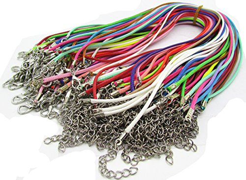 Assorted Color 50pcs Braided Imitation Leather Necklace Cord with Lobster Clasp ()