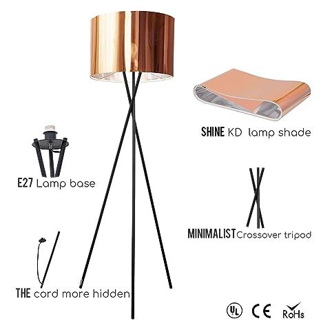 Osasy Lámpara de pie para salón. Lámpara de pie con El acabado cobre metálico pantalla de lámpara. Lámpara tripode para Dormitorio, Oficina, Lámpara ...