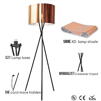 Lampara de pie Trípode Modernas,Lámpara Nordica - con El acabado cobre pantalla de lámpara. Lámpara de pie para Dormitorio,Salón,Oficina [Clase de ...