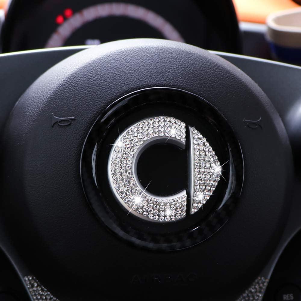 ZHANGDAN Personalizzato Flash Drill Logo Volante Decalcomania Accessori per Auto Decorazione Adesivi Rifiniture Interne per Mercedes New Smart 453 Fortwo Forfour