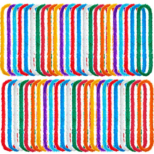 50 Pieces Multicolor Plastic Lei Necklaces Assortment Hawaiian Leis Perfect for Luau Party Decoration Supplies and Favors -