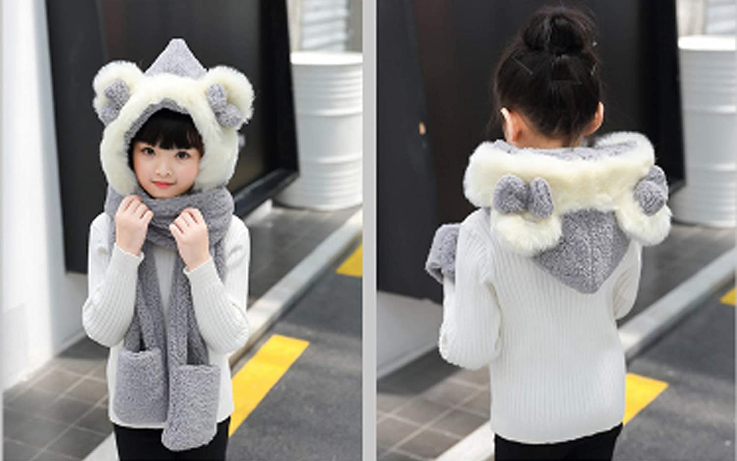 Pocket Kids Girls Cartoon Scarves Hat Gloves 3-in-1 Set Winter Super Soft Plush Full Hood Cap Warm Thermal Fleece Hats with Ears Scarf Christmas Gifts for Boys and Girls