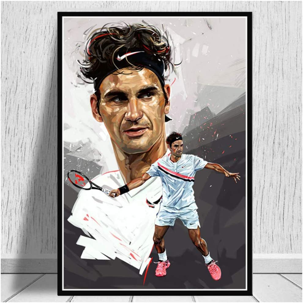 Amazon Com Aslkuyt Roger Federer Tennis Paintings Art Players Sport Star Poster And Prints Wall Canvas Wall Pictures For Living Room Home Decor 50x70cm No Frame Posters Prints