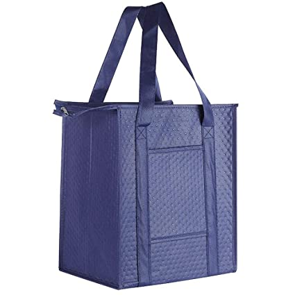 e426e4306 Image Unavailable. Image not available for. Color  ATBAY Insulated Grocery  Tote Bag Large Reusable Shopping Bags with Zippered Top and Outside Pocket