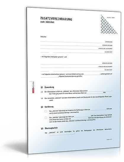 Zusatzvereinbarung Zum Jobticket Pdf Download Amazonde