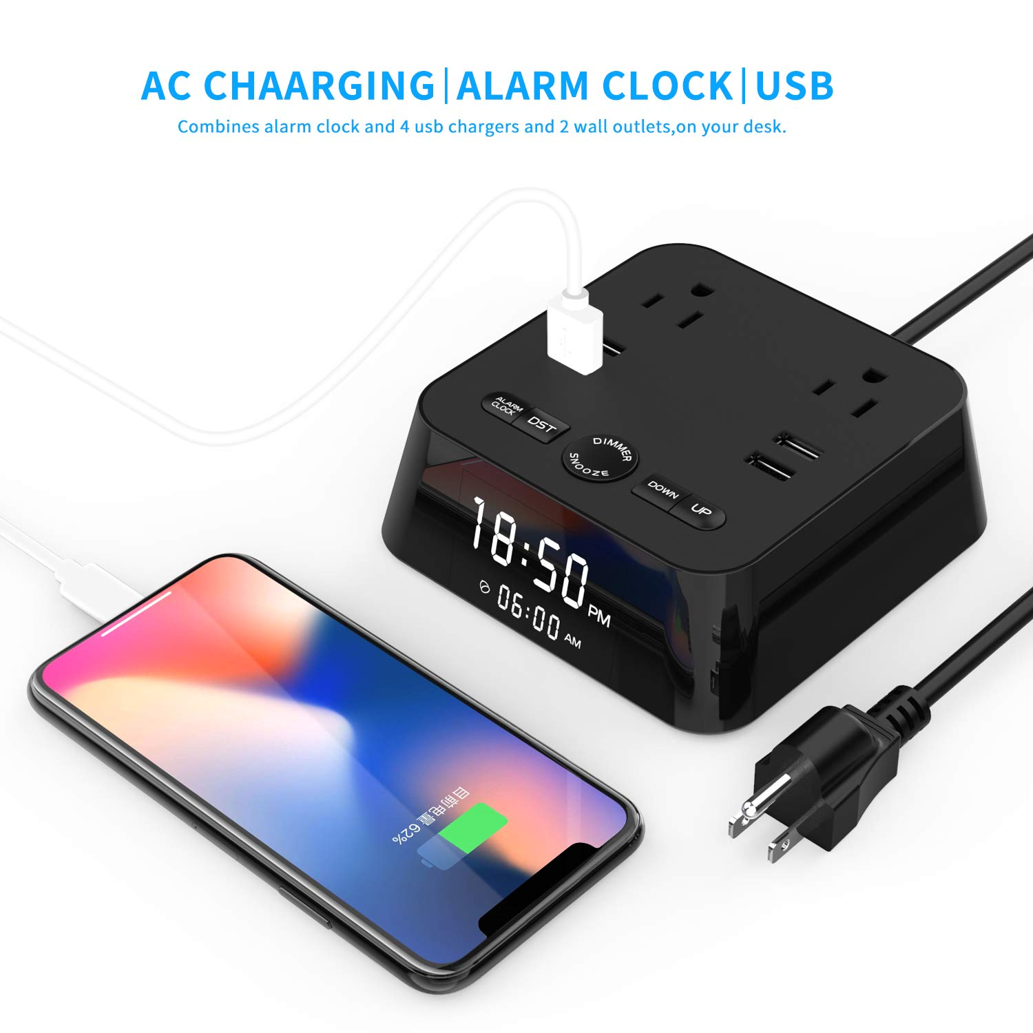 Ausein Alarm Clock Charger w/4 USB Ports & 2 AC Outlets, 6ft Power Cord Charging Station Power Strip for Hotel Home Office,UL Tested (4 Dimmer Brightness,Snooze,ON/Off Switch,DST Time,Battery Backup)