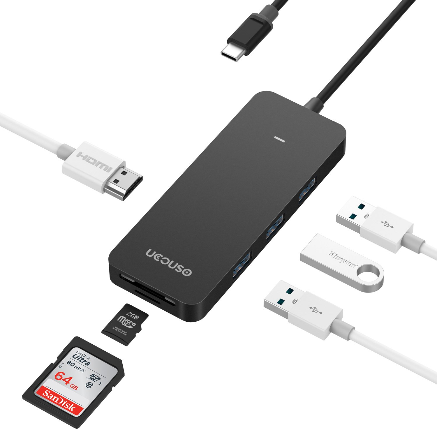USB C HUB,USB C to 4K HDMI Hub 3840X2160P@30HZ with 3 USB 3.0 Ports 1 Type C and 1 SD/TF Card Reader Portable Type C Adapter by UCOUSO(Black)