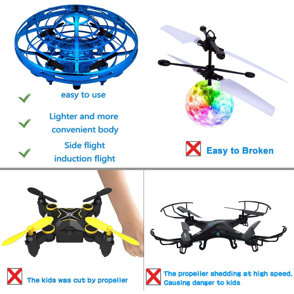 Kids Drone Toy, Flying Toys, Hand Control Drone for Kids Adults, Mini Flying Ball Helicopter with LED Light, Indoor Small Orb Flying Ball Drone Toys Gift for Boys or Girls, 360° Rotating Fun UFO Hover by BooTaa (Image #4)