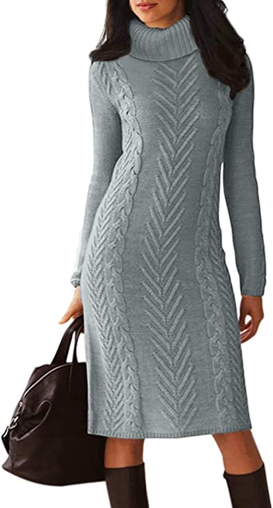 Dearlove Women's Long Sleeve Turtle Neck Slim Knit Sweater Bodycon Midi Dress Cute Sweater dresses for women