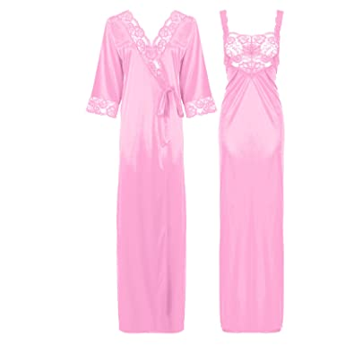 a322695fa5 The Orange Tags Womens Satin Long Nightdress Lace Detailed  Amazon.co.uk   Clothing
