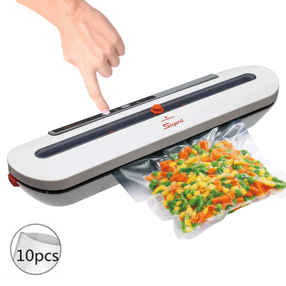 Vacuum Sealer Machine Automatic Vacuum Air Sealing System For Food Preservation with Foodsaver Vacuum Sealer Bags (Sliver) by UPEOR