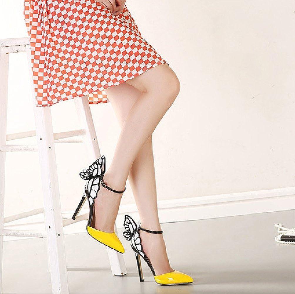 ZYQME Frauen Frauen Frauen Elegante High Heels Schmetterling Sandalen Knöchelriemen Pumps Damen Spitz Hochzeitskleid Schuhe b3569d