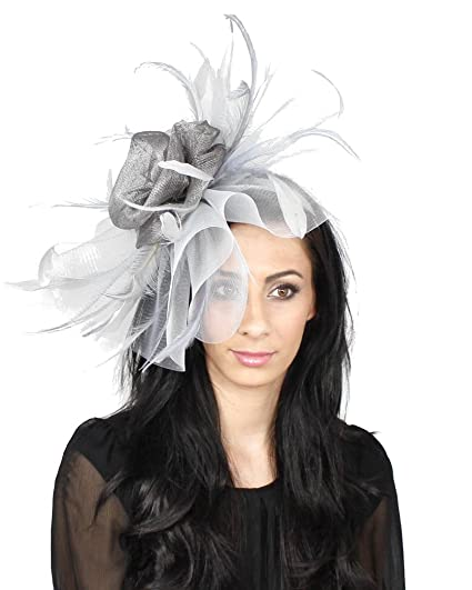 502245b82d52e Hats By Cressida Large Grey Silver Sinamay with Feathers Fascinator Hat for Ascot  Derby With Headband: Amazon.co.uk: Clothing