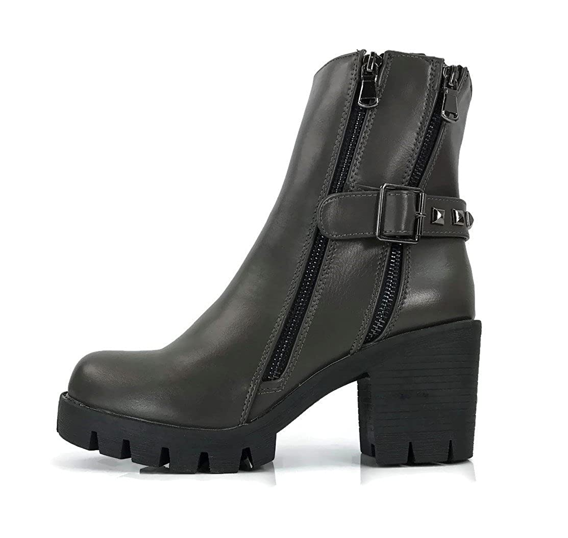 7856361ace4 C LABEL Clancy Women's High Ankle Faux Leather Boots Chunky Heel Lace Up  Military Buckle Motorcycle