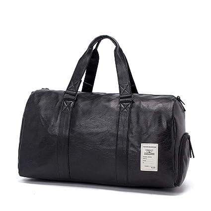79a3a32695d7 Amazon.com: FLYSXP PU Leather Travel Bag Handbag Waterproof Men and ...