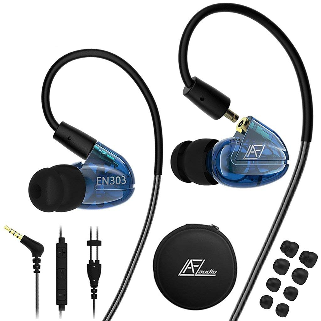 in Ear Headphones with Microphone, Wired Earbuds Earhook Removable Cable Noise Isolating Ear Buds, Sport Earphones for Jogging Gym Fitness Running Workout