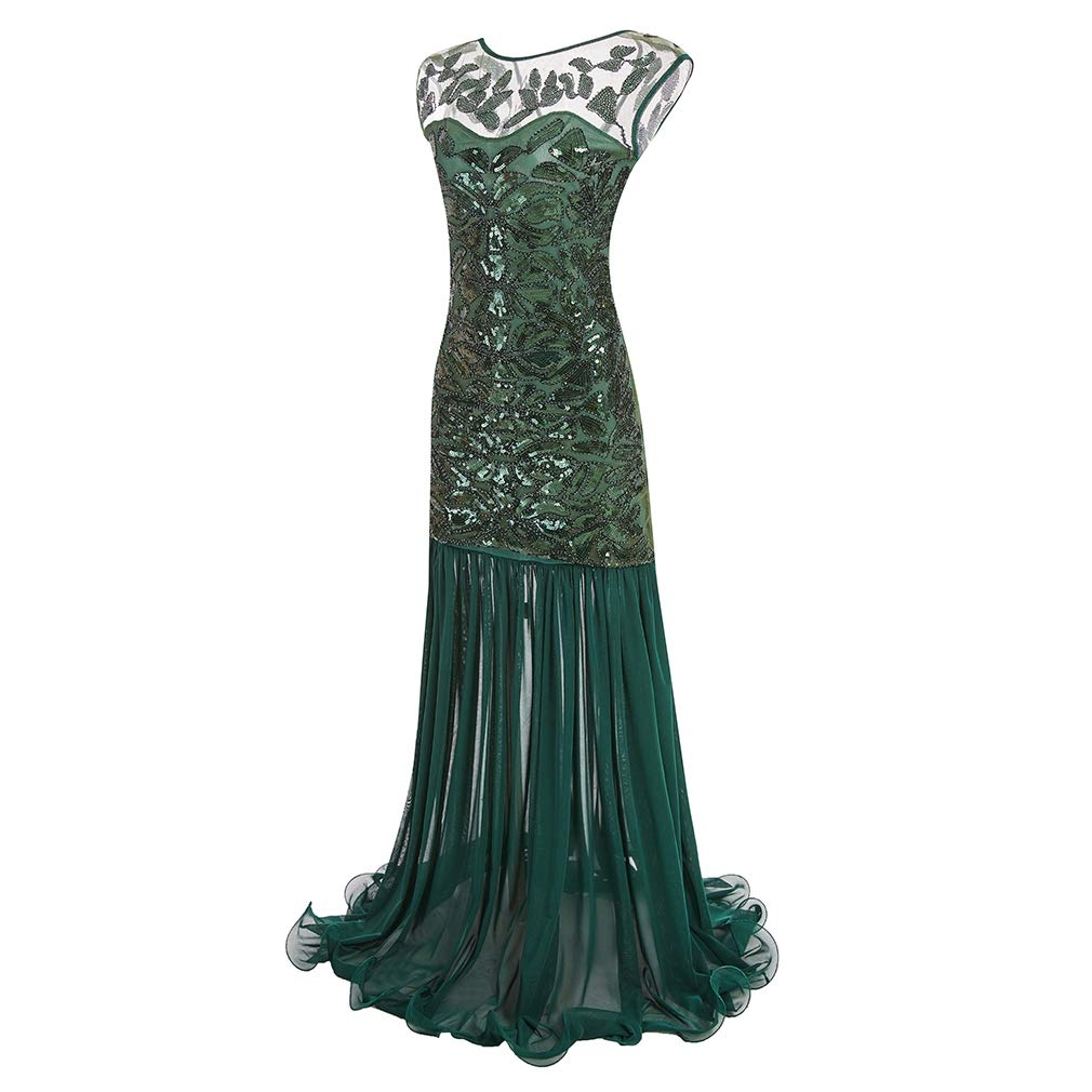 Style1 Green COMVIP 2kinds Women Classic 1920s Sequin Beaded Maxi Formal Prom Dress