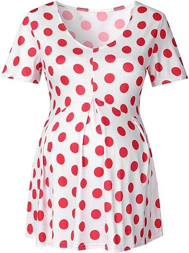 Vestidos para Premamá Camisa De Embarazo Señoras Mujeres Lactancia Materna Dot Print Blusa De Manga Corta Tops Camisa: Amazon.es: Ropa y accesorios