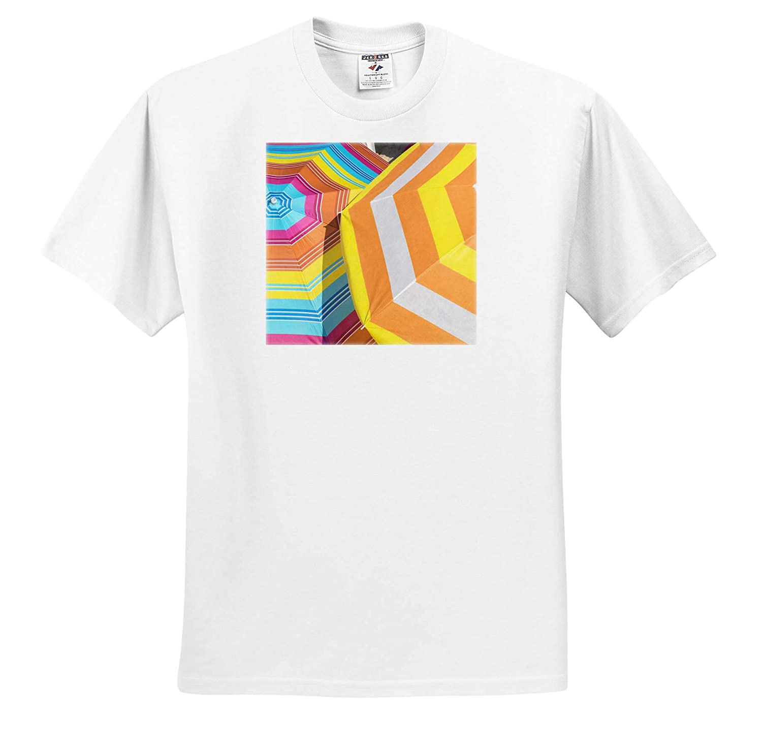 3dRose Danita Delimont Colorful Beach Umbrellas Adult T-Shirt XL ts/_313618 Abstracts