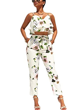 97479974143 Romacci Women Summer Two Piece Set Floral Printed Spaghetti Strap Double  Ruffles Crop Tops   Long