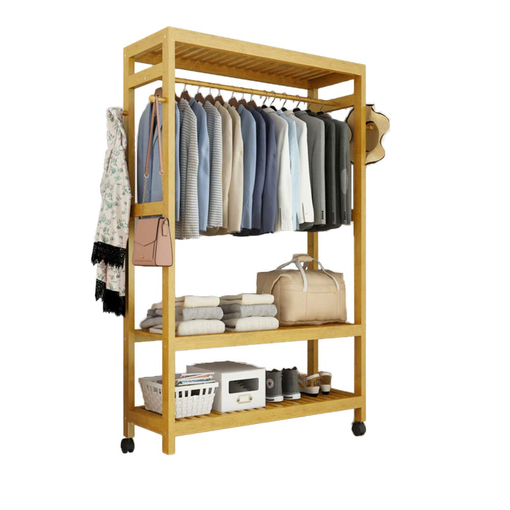 G 79x30x165cm(31x12x65inch) Multipurpose Bamboo Entryway Coat Rack with Shelf, Premium Coat Stand shoes Rack, with Roller Heavy Duty Hall Home-M 50x40x140cm(20x16x55)
