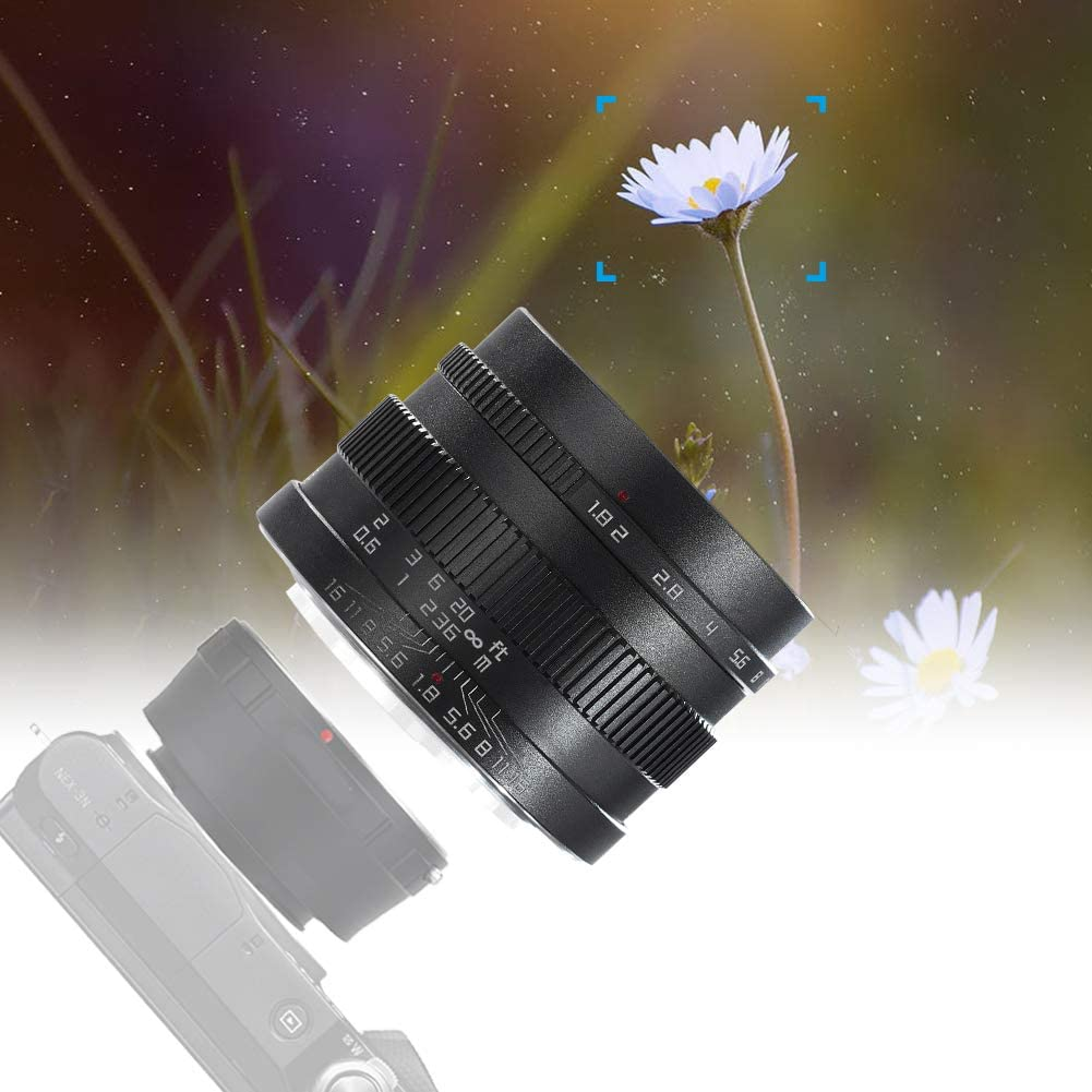 22mm f//1.8 Ultra Wide Angle Camera Lens,Professional f1.8-f16 Large Aperture APS-C Macro Shooting Optical Glass Lens for Fuji X-mount for Sony E Mount Mirrorless Camera,for Outdoor Photography