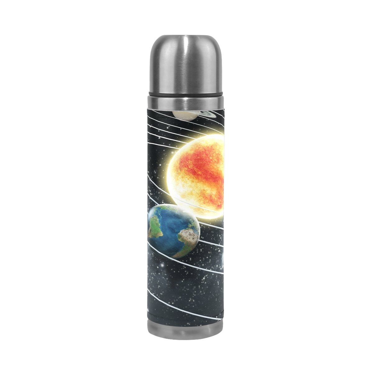 LORVIES Educational Solar System Stainless Steel Thermos Water Bottle Vacuum Insulated Cup Leak Proof Double Vacuum Bottle, PU Leather Travel Thermal Mug,17 oz