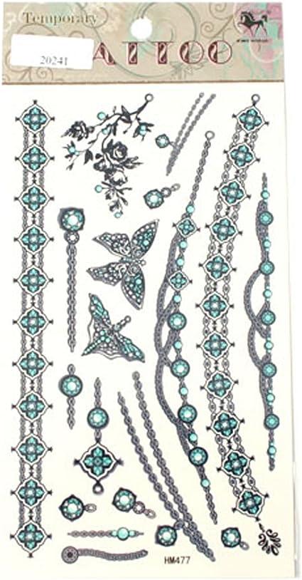 Tatuajes Cadenas joyas Mariposas Rosas Azul: Amazon.es: Belleza