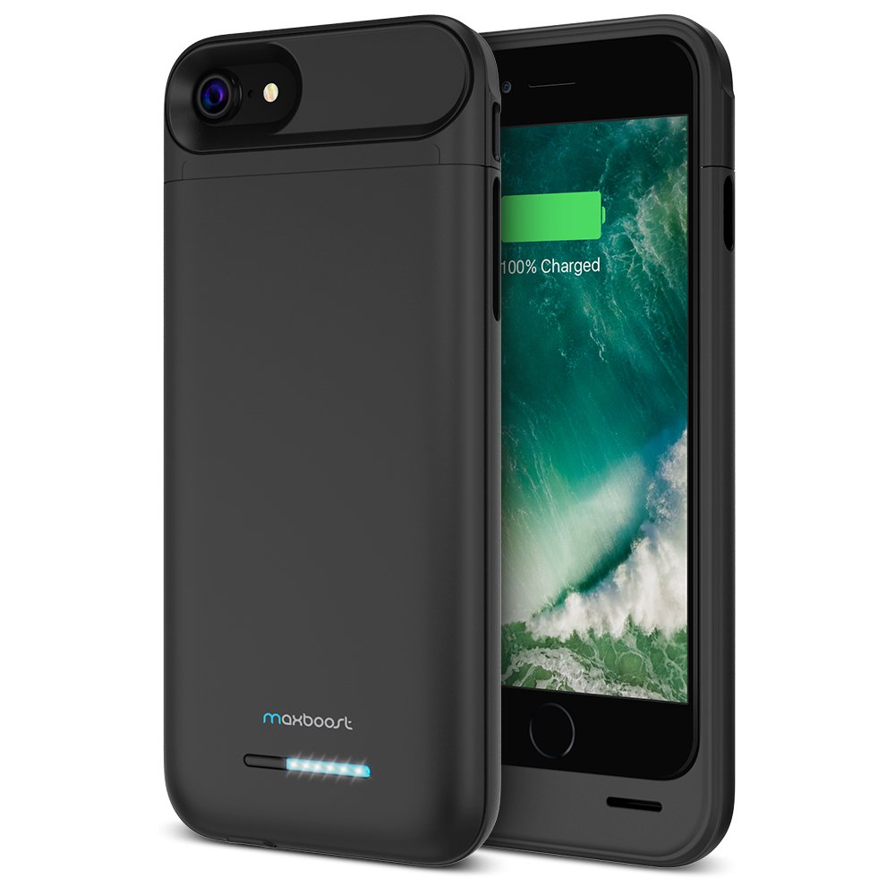 Maxboost [Atomic Power] iPhone 7s Battery Case/iPhone 7 Battery Charger - 3200mAh Rechargeable Juice Charging Case iPhone Portable Power Extended Power Case [Apple Certified Part] - Matte Black