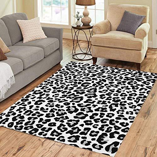 Pinbeam Area Rug Gray Cheetah Snow Leopard Jaguar White Pattern Spot Home Decor Floor Rug 5' x 7' Carpet