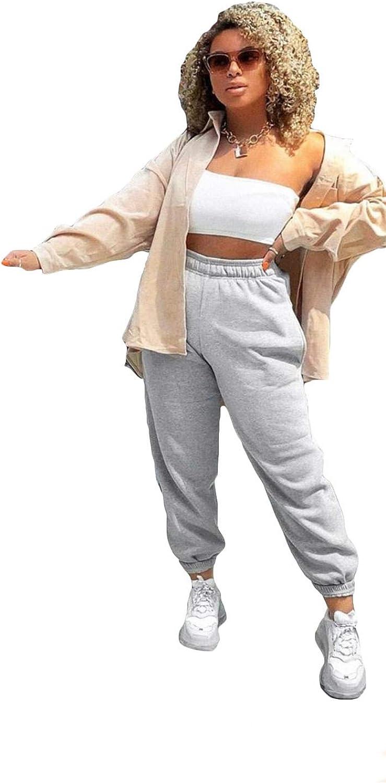 EASY BUYY Women Fleece Casual Oversized Jogging Jogger Ladies Cuffed Bottom Pants